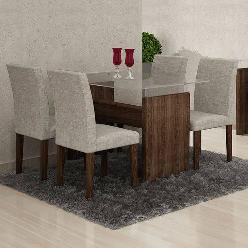 Conjunto Mesa Evidence 06 com 4 Cadeiras Classic Vidro 08mm 1,20x0,80 Cel Moveis Marrom