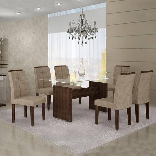 Conjunto Mesa Evidence 06 com 6 Cadeiras Villa Rica Vidro 10mm 1,80x0,90 Cel Moveis Marrom