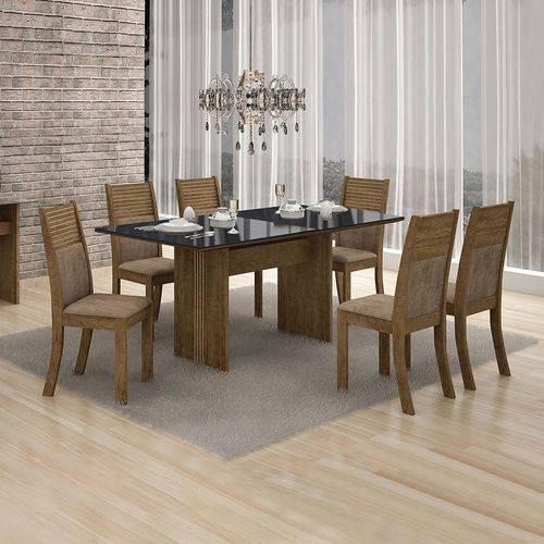 Conjunto Mesa Florença 6 Cadeiras Havai C/vidro Preto-ypê/animale Capuccino