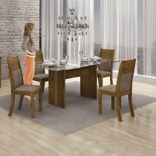 Conjunto Mesa Hawai 1,20x0,80m com 4 Cadeiras Animale Capuccino Canela - Leifer