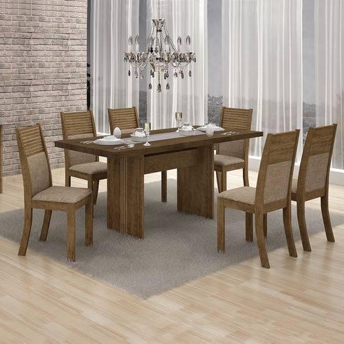 Conjunto Mesa Hawai 1,55x0,80m com 6 Cadeiras Hawai Linho Bege - 7356.38.49