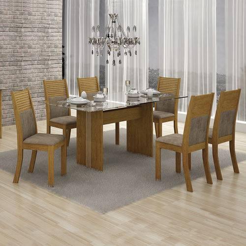 Conjunto Mesa Hawai 1,60x0,80m com 6 Cadeiras Animale Capuccino Imbuia - Leifer