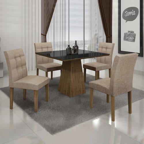 Conjunto Mesa Itália 0,90m com 4 Cadeiras Linho Bege