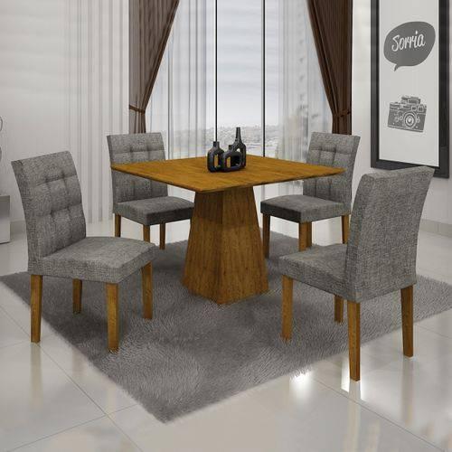 Conjunto Mesa Itália 0,90m com 4 Cadeiras Linho Cinza