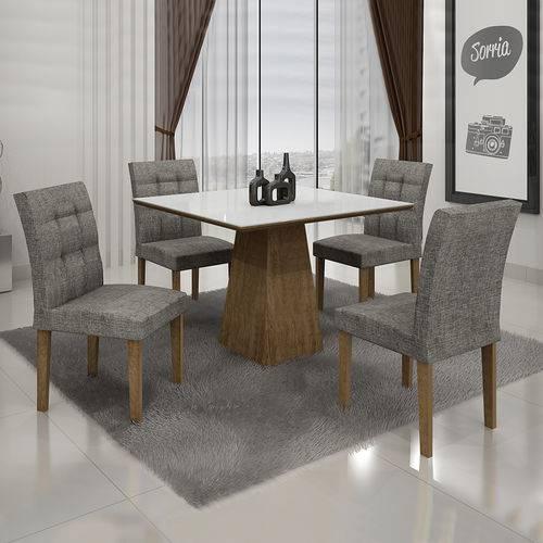 Conjunto Mesa Itália 0,90x0,90m com 4 Cadeiras Linho Cinza Ypê Vidro Branco Ypê - Leifer