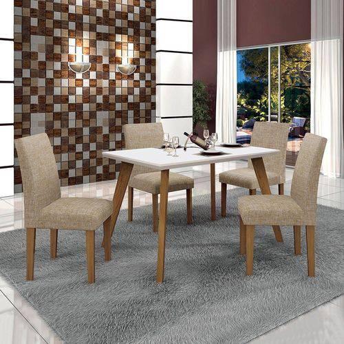 Conjunto Mesa Lavinia 4 Cadeiras Olimpia C/vidro Branco-linho Bege/off/imbuia Mel