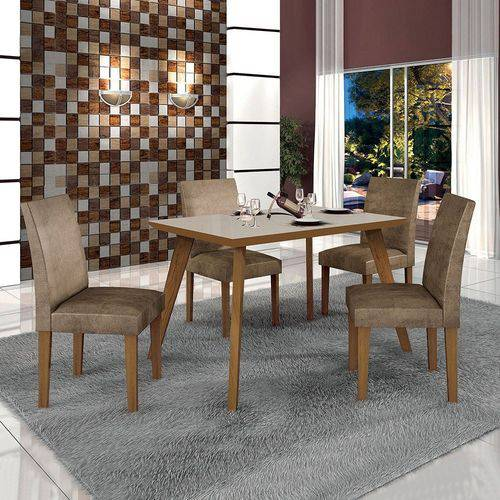 Conjunto Mesa Lavinia 4 Cadeiras Olimpia C/vidro Offwhite Leifer Imbuia Mel/animale Capuccino