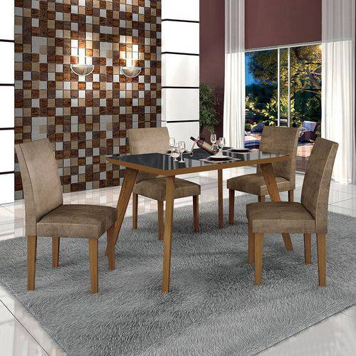 Conjunto Mesa Lavinia 4 Cadeiras Olimpia C/vidro Preto-animale Capucchino/leifer Imbuia Mel