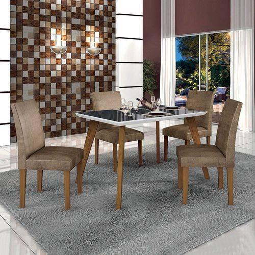 Conjunto Mesa Lavinia 4 Cadeiras Olimpia C/vidro Preto-imbuia Mel/branco/animale Capuccino