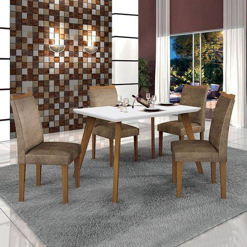 Conjunto Mesa Lavinia 4 Cadeiras Pampulha C/vidro Branco-branco/imbuia Mel/animale Capuccino