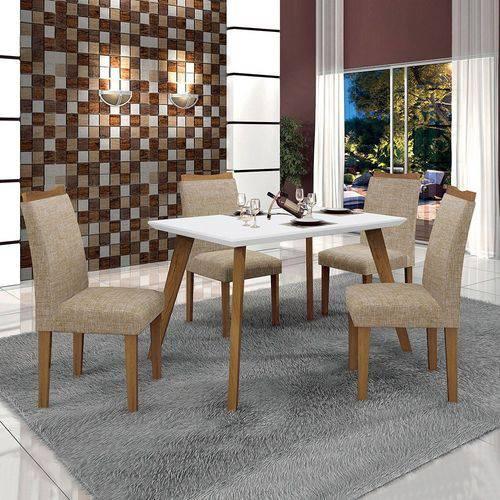 Conjunto Mesa Lavinia 4 Cadeiras Pampulha C/vidro Branco Leifer Imbuia Mel/branco/linho Bege