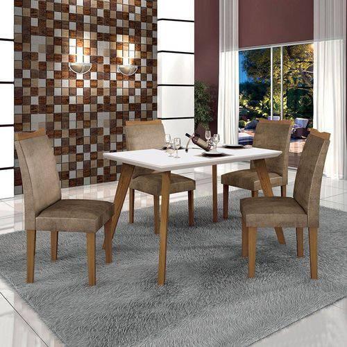 Conjunto Mesa Lavinia 4 Cadeiras Pampulha C/vidro Branco Offwhite/imbuia Mel