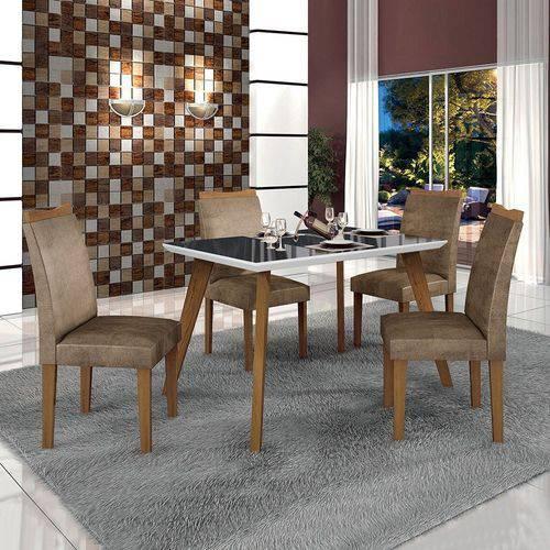Conjunto Mesa Lavinia 4 Cadeiras Pampulha C/vidro Preto-branco/imbuia Mel/animale Capuccino