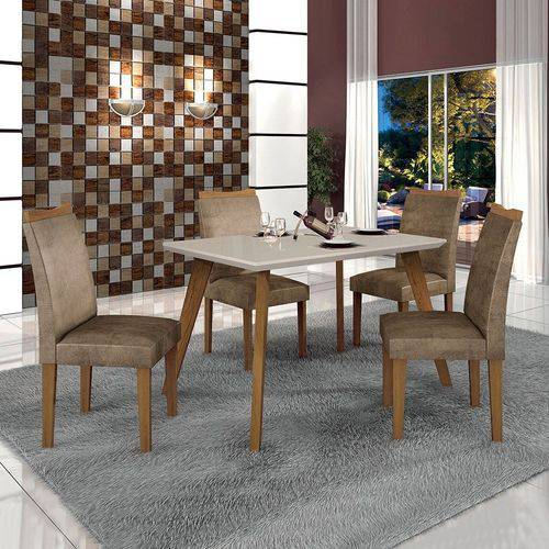 Conjunto Mesa Lavinia C/vidro 4 Cadeiras Pampulha Off White-imbuia Mel/off White