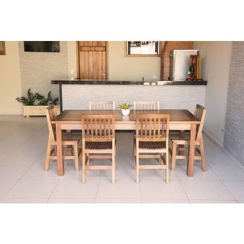 Conjunto Mesa Mineirinha 2,00m com 6 Cadeiras Confort em Madeira de Lei Maciça - Vivá Móveis