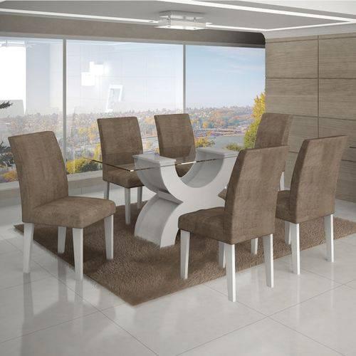 Conjunto Mesa Olimpia New 1,80m com 6 Cadeiras Animale Capuccino