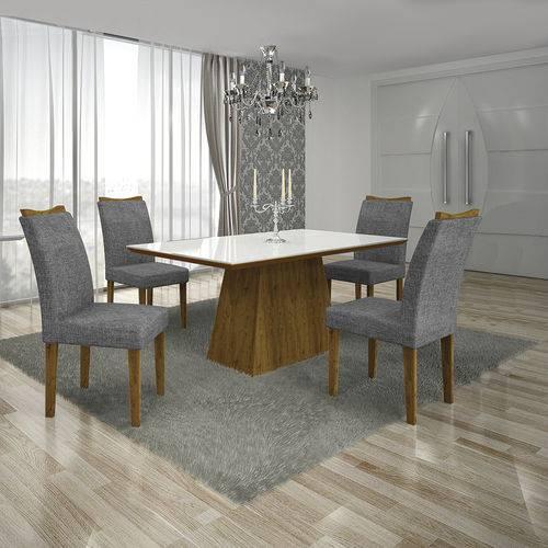 Conjunto Mesa Pampulha 1,20x0,80m com 4 Cadeiras Vidro Branco Linho Cinza Canela - Leifer
