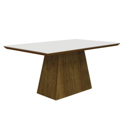 Conjunto Mesa Pampulha 1,20x0,80m com 4 Cadeiras Vidro Branco Linho Marrom Canela - Leifer