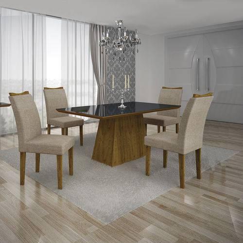 Conjunto Mesa Pampulha 1,20x0,80m com 4 Cadeiras Vidro Preto Linho Bege Canela - Leifer