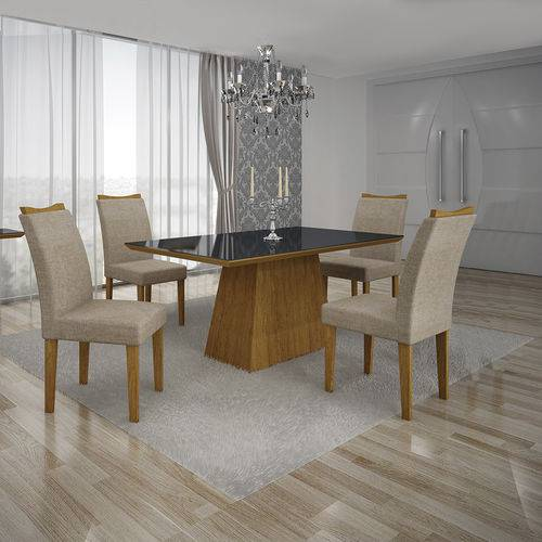 Conjunto Mesa Pampulha 1,20x0,80m com 4 Cadeiras Vidro Preto Linho Bege Imbuia - Leifer