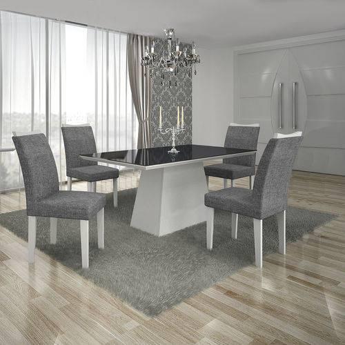 Conjunto Mesa Pampulha 1,20x0,80m com 4 Cadeiras Vidro Preto Linho Cinza Branco - Leifer