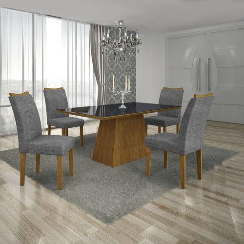 Conjunto Mesa Pampulha 1,20x0,80m com 4 Cadeiras Vidro Preto Linho Cinza Imbuia - Leifer