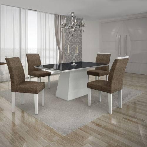 Conjunto Mesa Pampulha 1,20x0,80m com 4 Cadeiras Vidro Preto Linho Marrom Branco - Leifer