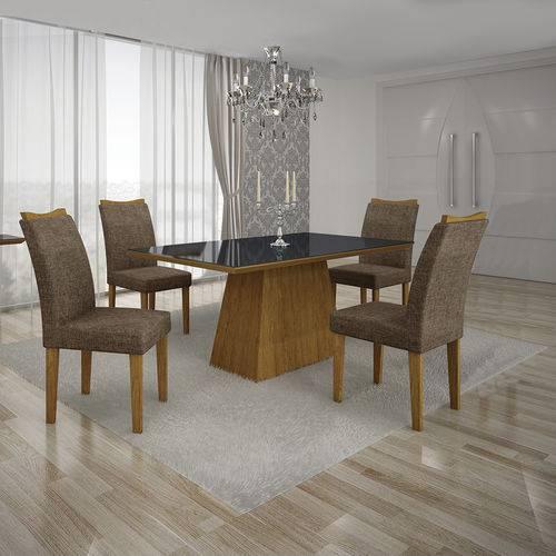 Conjunto Mesa Pampulha 1,20x0,80m com 4 Cadeiras Vidro Preto Linho Marrom Imbuia - Leifer