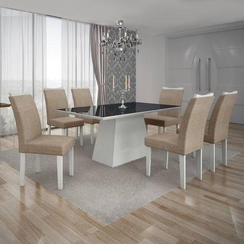 Conjunto Mesa Pampulha 1,80x0,90m 6 Cadeiras Vidro Preto Linho Bege - 7340.38.1.23 Leifer