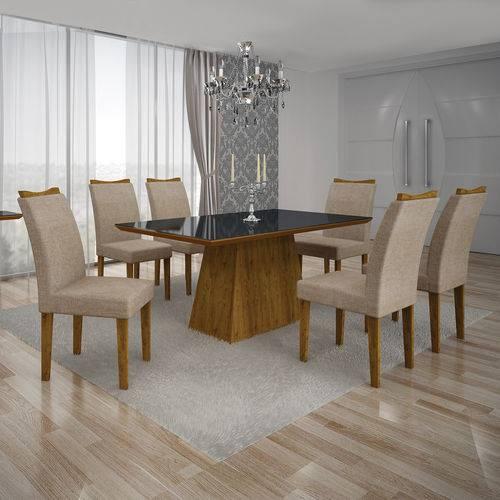 Conjunto Mesa Pampulha 1,80x0,90m 6 Cadeiras Vidro Preto Linho Bege - 7340.38.58.23 Leifer