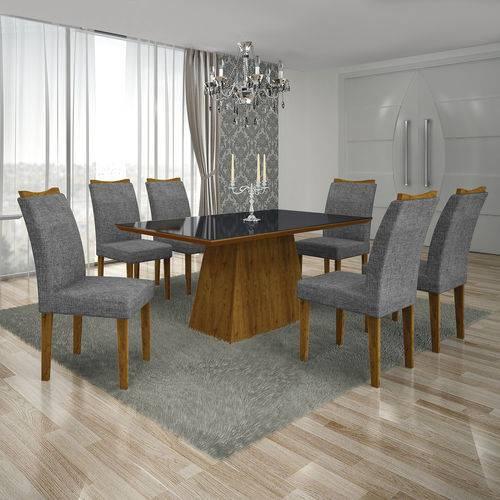 Conjunto Mesa Pampulha 1,80x0,90m 6 Cadeiras Vidro Preto Linho Cinza - 7340.39.58.23 Leifer