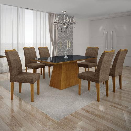Conjunto Mesa Pampulha 1,80x0,90m 6 Cadeiras Vidro Preto Linho Marrom - 7340.37.39.23 Leifer