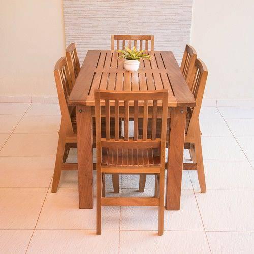 Conjunto Mesa Ripada 2,00m com 6 Cadeiras Confort em Madeira de Lei Maciça