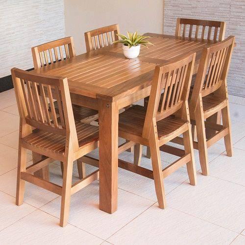Conjunto Mesa Ripada 1,60m com 6 Cadeiras Confort em Madeira de Lei Maciça