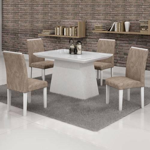 Conjunto Mesa Sevilha 1,20x0,90 com 4 Cadeiras Sevilha Vidro Branco Cel Moveis Branco