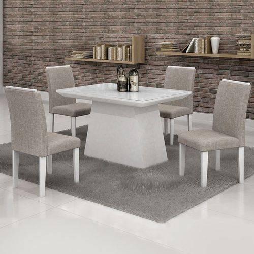 Conjunto Mesa Sevilha 120x90 Cm C/ 4 Cadeiras Sevilha Vidro Branco - Cel Móveis