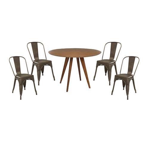 Conjunto Mesa Square Redonda Tampo Louro Freijó 80cm com 4 Cadeiras Tolix Ferrugem Vintage