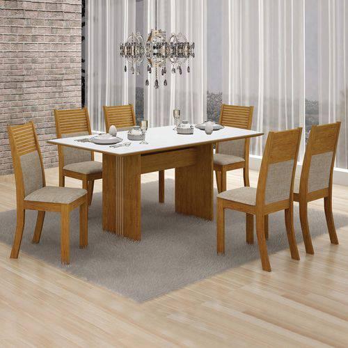 Conjunto Mesa Tampo de Vidro Branco Florença e 6 Cadeiras Havaí Leifer Imbuia Mel/Linho Bege