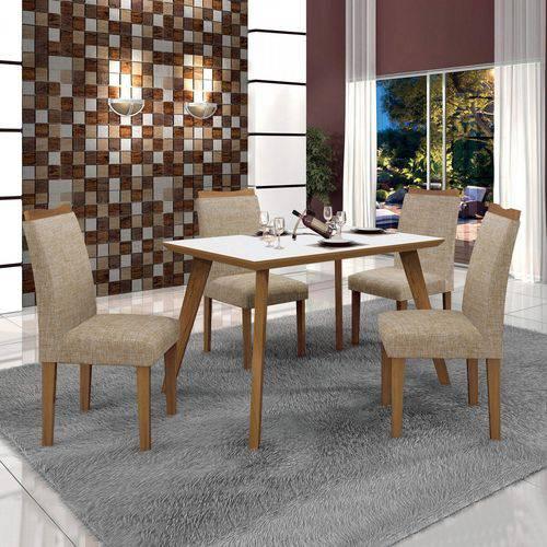 Conjunto Mesa Tampo de Vidro Branco Lavínia e 4 Cadeiras Pampulha Leifer Imbuia Mel/Imbuia