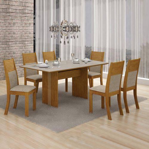 Conjunto Mesa Tampo de Vidro Off White Florença e 6 Cadeiras Havaí Leifer Imbuia Mel/Linho Bege