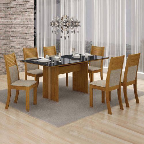 Conjunto Mesa Tampo de Vidro Preto Florença e 6 Cadeiras Havaí Leifer Imbuia Mel/Linho Bege