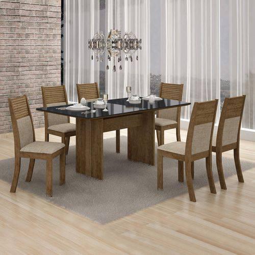 Conjunto Mesa Tampo de Vidro Preto Florença e 6 Cadeiras Havaí Leifer Ypê/Linho Bege