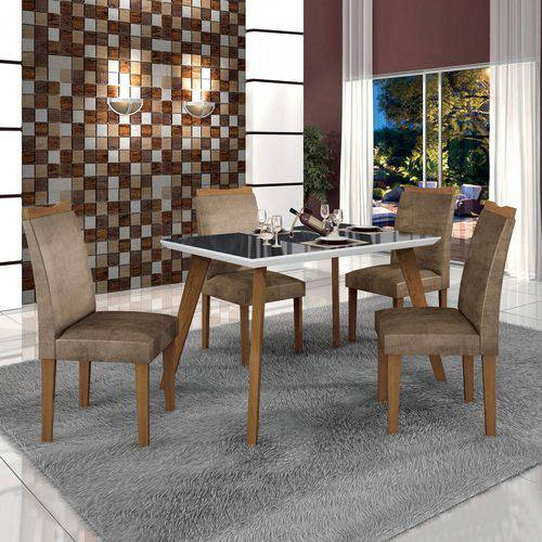 Conjunto Mesa Tampo de Vidro Preto Lavínia e 4 Cadeiras Pampulha Leifer Imbuia Mel/Branco/Animale