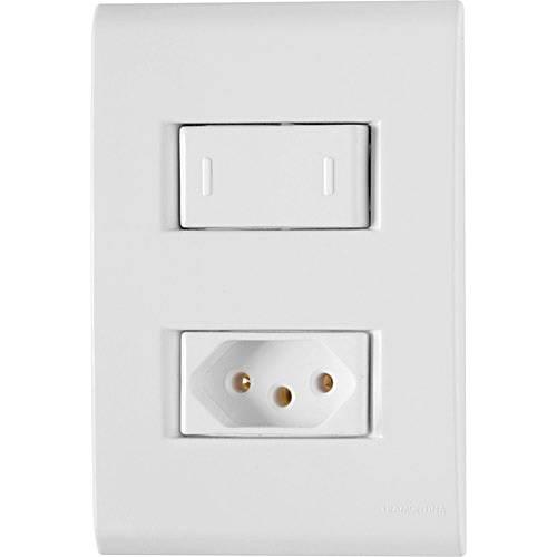 Conjunto Montado Liz 4x2 - 1 Interruptor Paralelo + 1 Tomada NBR 14136 10A - 250V~ (Afastadas) - Tramontina