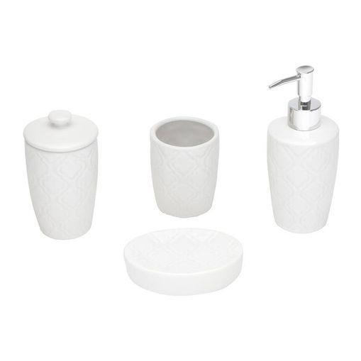 Conjunto para Banheiro 4 Peças em Cerâmica Branco Rio 3862 Lyor