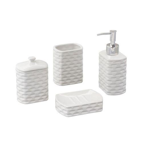 Conjunto para Banheiro 4 Peças em Cerâmica Branco Tiles 2113 Lyor