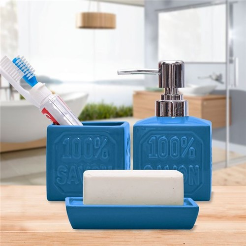 Conjunto para Banheiro 3 Peças Cerâmica Azul Azul