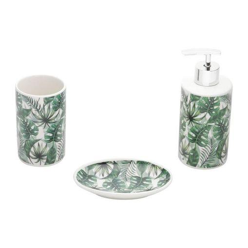 Conjunto para Banheiro 3 Peças em Cerâmica Verde Leaf 3988 Lyor