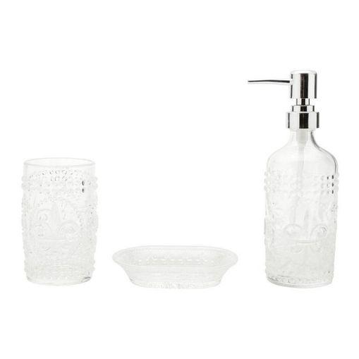 Conjunto para Banheiro 3 Peças em Vidro Flor de Lis 3984 Lyor