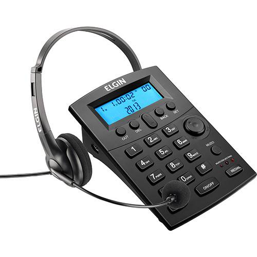 Conjunto para Telefonista com Base Discadora e Fone de Cabeça Elgin Preto